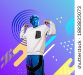 Small photo of Look at me. Stylish man headed by bright statue on fluid neon background. Negative space to insert your text. Modern design. Contemporary colorful and conceptual bright art collage.