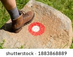 Man Hiking Boot On A Stone With ...