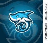 shark mascot logo design vector ... | Shutterstock .eps vector #1883874619