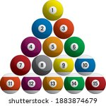 billiards pool balls racked set ... | Shutterstock .eps vector #1883874679