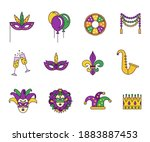 Mardi Gras, christian event with masquerade - solid icons in purple, yellow and green palette. Tradition Symbols of Fat Tuesday. Venetian masks, beads garland, The King Cake, fleur de lys and other
