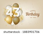 happy 43th birthday with gold... | Shutterstock . vector #1883901706