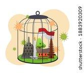 indonesian travel ban for... | Shutterstock .eps vector #1883920309
