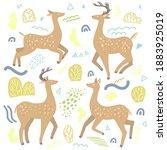 cute dappled deer flat hand... | Shutterstock .eps vector #1883925019