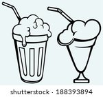 milk shake. isolated on blue... | Shutterstock .eps vector #188393894