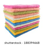 Large Stack Of Towels Of...