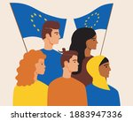european people with the flag...   Shutterstock .eps vector #1883947336