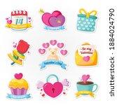 beautiful romantic stickers...   Shutterstock .eps vector #1884024790