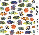 colorful exotic tropical fishes ... | Shutterstock . vector #1884029716