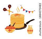 the pancakes put by a pile ... | Shutterstock .eps vector #1884070483