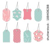 Cute textile label tags set in pastel blue and pink colors. - stock vector