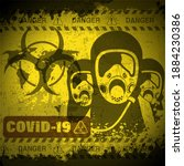 pandemic poster on covid 19... | Shutterstock . vector #1884230386