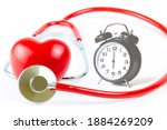Red Stethoscope Shape Heart And ...