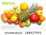 tropical ripe fruits mix. sweet ... | Shutterstock . vector #188427953