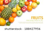 tropical ripe fruits mix. sweet ... | Shutterstock . vector #188427956