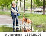 Stock photo boy with dog walks through the puddle 188428103
