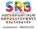 alphabet and numbers set hand...   Shutterstock .eps vector #1884321220