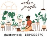 plant lady green house. set of... | Shutterstock .eps vector #1884333970
