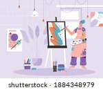 woman painter drawing picture...   Shutterstock .eps vector #1884348979