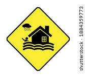 warning flood signs isolated on ... | Shutterstock . vector #1884359773