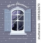 christmas window with snowfall... | Shutterstock .eps vector #1884363670
