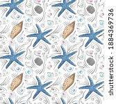 seashells vector seamless... | Shutterstock .eps vector #1884369736