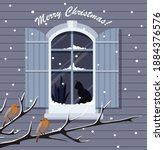 christmas window with snowfall ... | Shutterstock .eps vector #1884376576