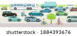 road traffic with cars  buses... | Shutterstock .eps vector #1884393676