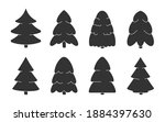 black glyph christmas forest... | Shutterstock .eps vector #1884397630
