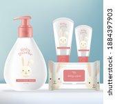 vector baby toiletries or...   Shutterstock .eps vector #1884397903