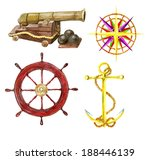 marine set with the hand drawn... | Shutterstock . vector #188446139