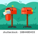 opened and closed mailbox... | Shutterstock .eps vector #1884480433