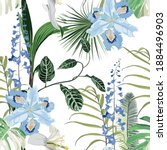 tropical blue flowers and... | Shutterstock .eps vector #1884496903