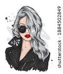 beautiful girl in a stylish... | Shutterstock .eps vector #1884502849