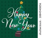 happy new year. illustrated... | Shutterstock .eps vector #1884540856