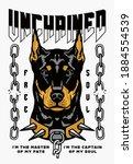 Doberman Pinscher Dog With...