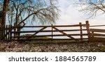 Old Wooden Gate On Field Near...