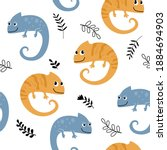 seamless pattern with funny... | Shutterstock .eps vector #1884694903