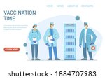 male and female doctors with... | Shutterstock .eps vector #1884707983