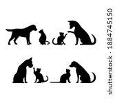 set dog and cat  illustration   Shutterstock . vector #1884745150