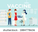 young couple vaccination for... | Shutterstock .eps vector #1884778636