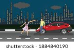 red car parked on the roadside. ... | Shutterstock .eps vector #1884840190