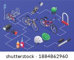bicycle isometric composition... | Shutterstock .eps vector #1884862960