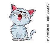 cute cat white pet cartoon... | Shutterstock .eps vector #1884866560