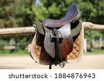 Old Leather Saddle With...