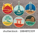 set of stickers with the sights ... | Shutterstock .eps vector #1884892339