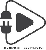electric play icon  vector line ... | Shutterstock .eps vector #1884960850