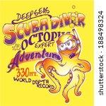 octopus scuba diver cartoon | Shutterstock .eps vector #188498324