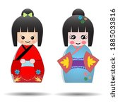 Set Of Cute Japanese Kokeshi...