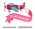 cute airplane caring valentine...   Shutterstock .eps vector #1885083460
